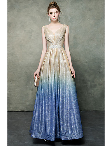 e4b6d79b6d A-Line V Neck Floor Length Sequined Color Block Prom Dress with Sequin /  Sash / Ribbon by LAN TING Express