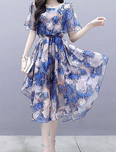 billige Kjoler-Dame Elegant Tynn A-linje Skjede Kjole - Blomstret, Trykt mønster V-hals Knelang
