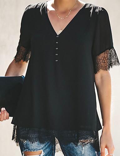 abordables Hauts pour Femmes-Tee-shirt Femme, Couleur Pleine Col en V Ample Blanche