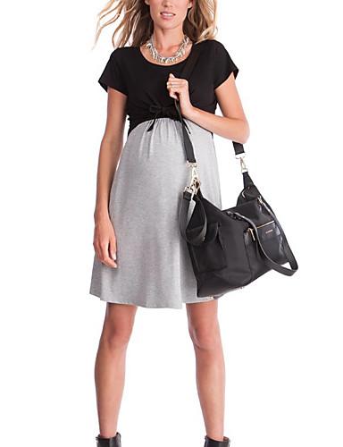 cheap Women's Dresses-Women's Elegant A Line Dress - Solid Colored Color Block Lace up Patchwork Black L XL XXL