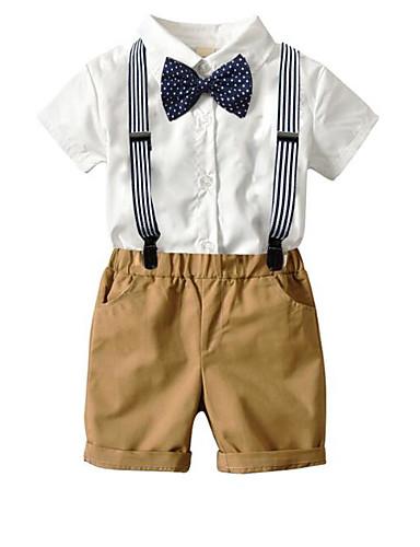 povoljno Odijela za malog djevera-Kava Pamuk Odijelo za malog djevera - 4 komada Uključuje Bluza / Kratke hlače / Mašna