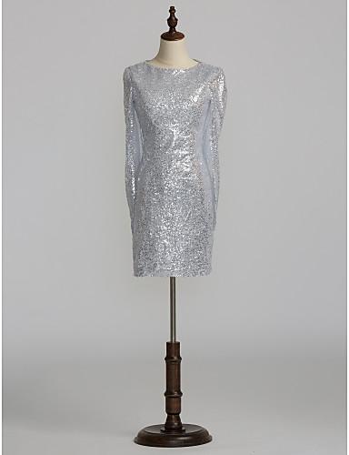 voordelige Tot $99,99-Strak / kolom Met sieraad Kort / Mini Pailletten Bruidsmoederjurken met Kristaldetails door LAN TING BRIDE®
