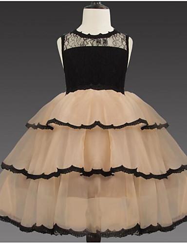 נסיכה באורך  הברך שמלה לנערת הפרחים  - תחרה / טול ללא שרוולים עם תכשיטים עם תחרה / שכבות / בלוק צבע על ידי LAN TING Express