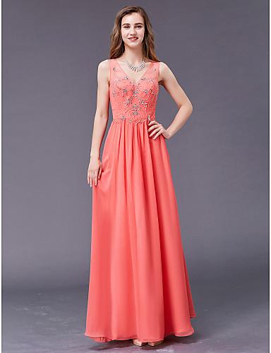رخيصةأون وصل حديثًا-A-الخط V رقبة طول الأرض شيفون حفلة رسمية فستان مع حصى بواسطة TS Couture®