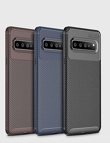 מגן עבור Samsung Galaxy גלקסי S10 / גלקסי S10 פלוס / גלקסי S10 לייט מזוגג כיסוי אחורי אחיד רך סיבי פחמן