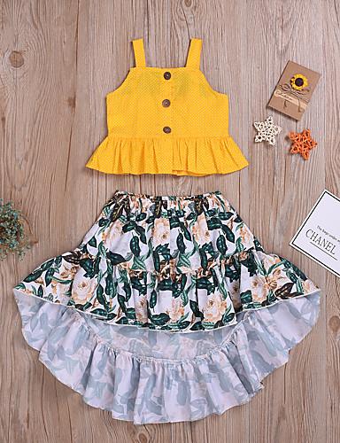 סט של בגדים כותנה ללא שרוולים מתנפנפת / גב חשוף / דפוס אחיד / דפוס בוהו / סגנון רחוב בנות ילדים