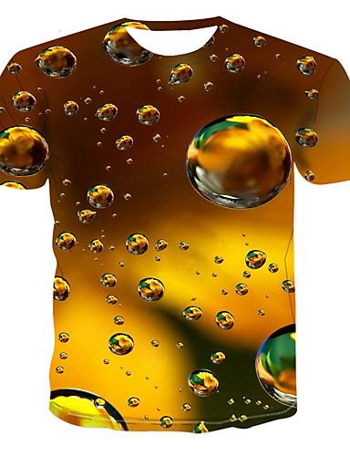 voordelige Heren T-shirts & tanktops-Heren Grote maten - T-shirt Kleurenblok Ronde hals Bruin / Korte mouw
