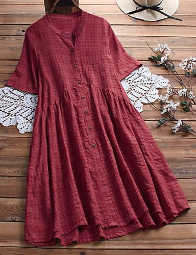 tanie W stylu vintage-Damskie Vintage Moda miejska Linia A Sukienka - Solidne kolory, Pofałdowany Nad kolano