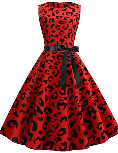 billige Kjoler-Dame Vintage A-linje Kjole - Leopard, Lapper Trykt mønster Knelang
