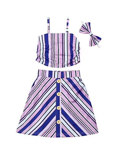 סט של בגדים כותנה קצר ללא שרוולים פסים פעיל / סגנון רחוב בנות תִינוֹק / פעוטות
