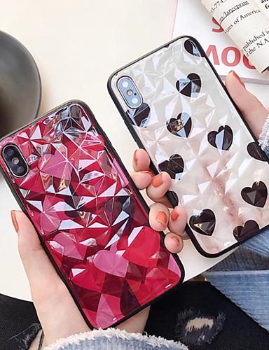 מגן עבור Apple iPhone XS / iPhone XR / iPhone XS Max מראה / תבנית כיסוי אחורי תבנית גאומטרית קשיח זכוכית משוריינת