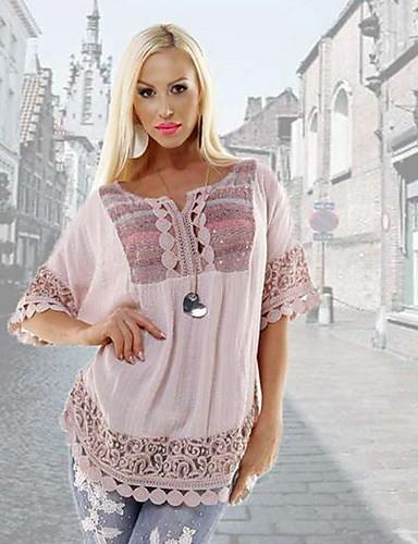 da908fbc3 رخيصةأون قمصان نسائية-نسائي قميص أساسي طباعة هندسي أبيض US14