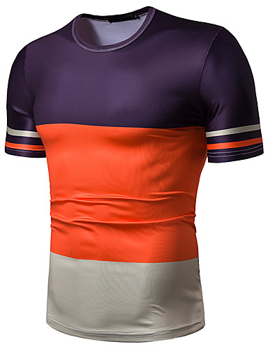 cheap Men's Clothing-Men's Daily Casual Basic / Street chic Cotton T-shirt - Color Block Print Round Neck Orange / Short Sleeve