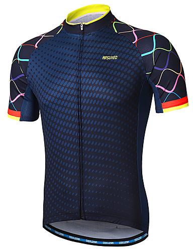 hesapli Bisiklet Formaları-Arsuxeo Erkek Kısa Kollu Bisiklet Forması Kırmzı Mavi Donanma Gradient Bisiklet Forma Yansıtıcı çizgili Pochłanianie potu Spor Dalları %100 Polyester Dağ Bisikletçiliği Yol Bisikletçiliği Giyim