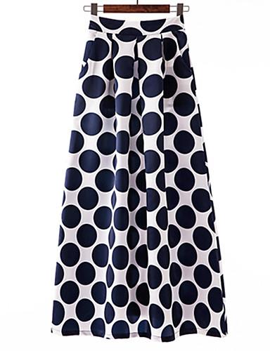 abordables Jupes-Femme Chic de Rue Sophistiqué Maxi Trapèze / Balançoire Jupes - Points Polka Géométrique Imprimé Bleu Noir Rouge XL XXL XXXL