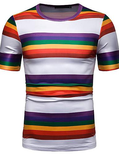 abordables Camisetas y Tops de Hombre-Hombre Básico / Chic de Calle Estampado Camiseta A Rayas / Arco iris Arco Iris US34