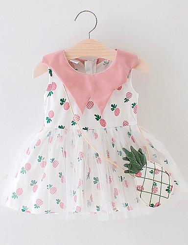 שמלה כותנה ללא שרוולים פירות ורד מאובק בסיסי בנות תִינוֹק / פעוטות