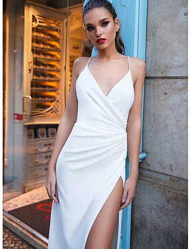 כתפיה א-סימטרי שמלה גזרת A בגדי ריקוד נשים