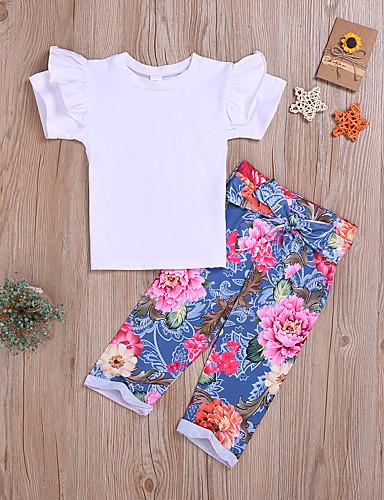 סט של בגדים כותנה שרוולים קצרים פפיון / דפוס דפוס בסיסי / סגנון רחוב בנות ילדים