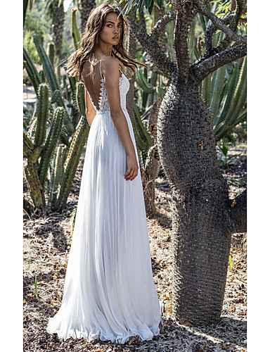 cheap Evening Dresses-A-Line Spaghetti Strap Floor Length Chiffon Open Back Formal Evening Dress with by LAN TING Express