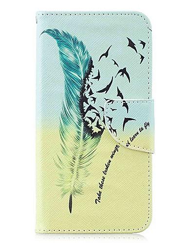 Кейс для Назначение SSamsung Galaxy S9 / S9 Plus / S8 Plus Кошелек / Бумажник для карт / со стендом Чехол Перья Твердый Кожа PU