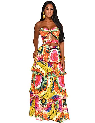 voordelige Maxi-jurken-Dames Schede Jurk - Tie Dye, Print Midi