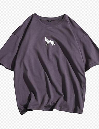 voordelige Heren T-shirts & tanktops-Heren Standaard Print Grote maten - T-shirt Katoen Effen / Letter Ronde hals Slank Rood / Korte mouw