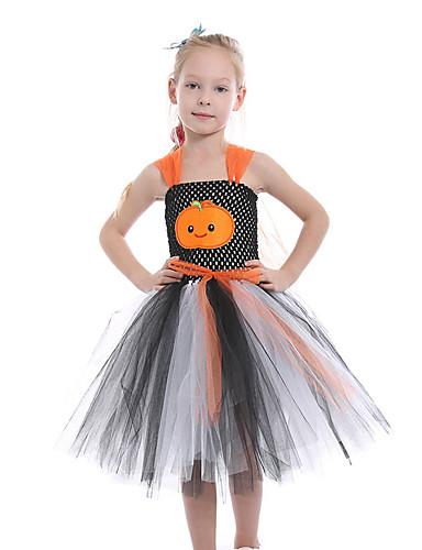 שמלה עד הברך ללא שרוולים גב חשוף / רשת / טלאים צמחים שחור ואפור פעיל / סגנון חמוד בנות ילדים / פעוטות