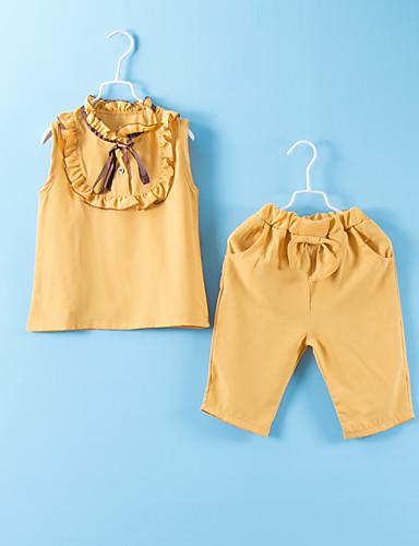 סט של בגדים כותנה ללא שרוולים טלאים אחיד פעיל / בסיסי בנות ילדים