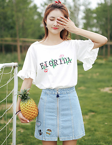 abordables Hauts pour Femme-Tee-shirt Femme, Lettre A Volants Blanche