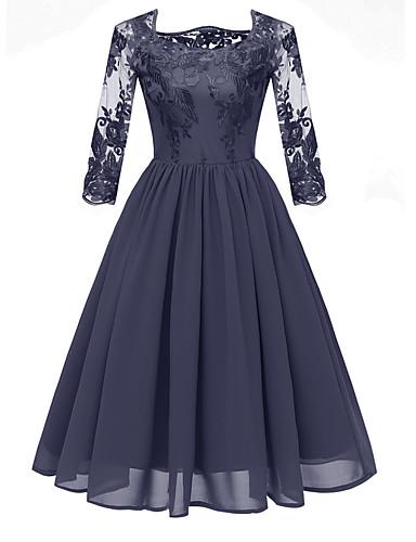hesapli Vintage Kraliçesi-Kadın's A Şekilli Elbise - Çiçekli, Dantel Diz-boyu