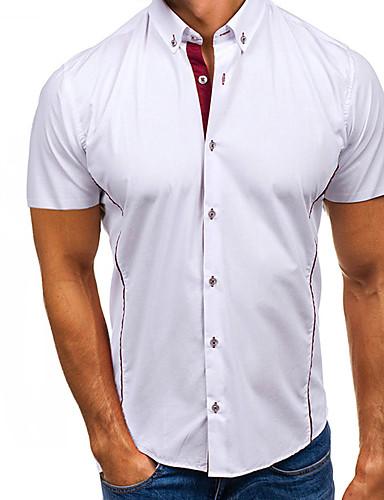 464527703 رخيصةأون قمصان رجالي-رجالي قميص أناقة الشارع لون سادة أبيض XL