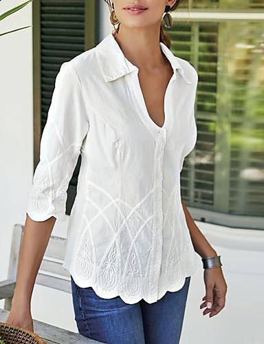 billige Dametopper-V-hals Bluse Dame - Ensfarget Hvit