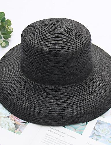 a1d7465f45 Mujer Hilo Sombrero de Paja-Fiesta Básico Un Color Todas las Temporadas  Rosa Beige Caqui
