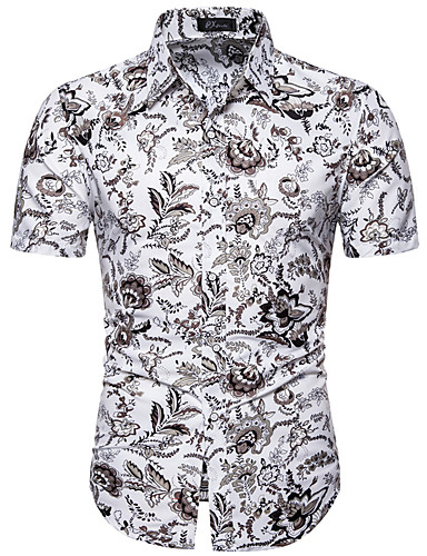 Men's Casual / Daily Athleisure Basic Plus Size Shirt - Floral White / Short Sleeve