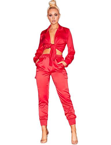 abordables Hauts pour Femmes-Femme Bohème / Chic de Rue Set - Couleur Pleine, Mosaïque Pantalon