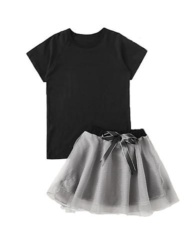 סט של בגדים כותנה שרוולים קצרים פפיון / שרוכים לכל האורך אחיד פעיל / בסיסי בנות פעוטות