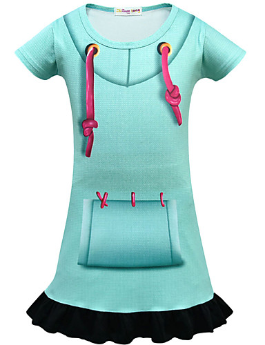 שמלה מעל הברך שרוולים קצרים אחיד פעיל / סגנון רחוב בנות ילדים / פעוטות