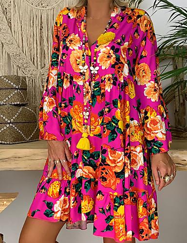מקסי גיאומטרי - שמלה סווינג בסיסי בגדי ריקוד נשים