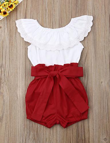 סט של בגדים כותנה ללא שרוולים לגזור אחיד פעיל / בסיסי בנות תִינוֹק / פעוטות