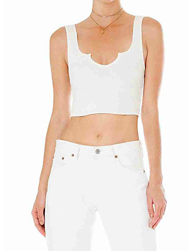billige Topper til damer-Tynn Båthals T-skjorte Dame - Ensfarget Gatemote Hvit