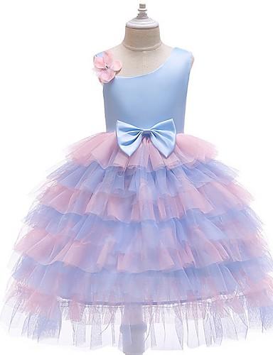 גזרת A באורך הקרסול שמלה לנערת הפרחים  - טול ללא שרוולים רצועות ספגטי עם בלוק צבע על ידי LAN TING Express