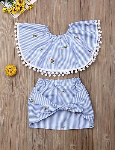 סט של בגדים כותנה ללא שרוולים פרנזים / דפוס פסים / פרחוני פעיל / בסיסי בנות ילדים / פעוטות