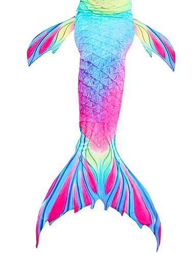 levne Cosplay na plavání-Malá mořská víla Aqua Princess Plavky Dětské Dívčí Vánoce Halloween Festival / Svátek Polyester černá / oranžová / Modrá + zelená / Tmavě fialová Karnevalové kostýmy Mořská panna