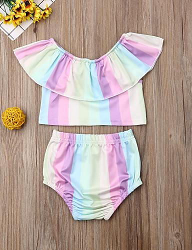סט של בגדים כותנה קצר שרוולים קצרים דפוס פסים פעיל / בסיסי בנות תִינוֹק / פעוטות