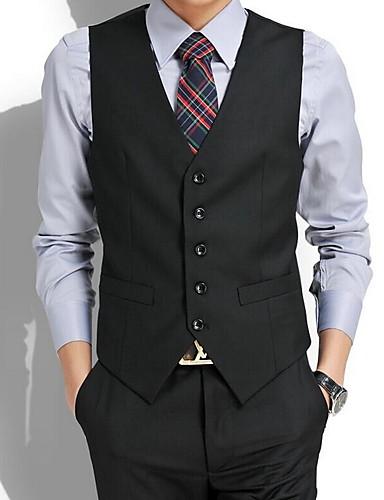 voordelige Herenblazers & kostuums-Heren Vest, Kleurenblok V-hals Polyester Zwart / Grijs / Slank