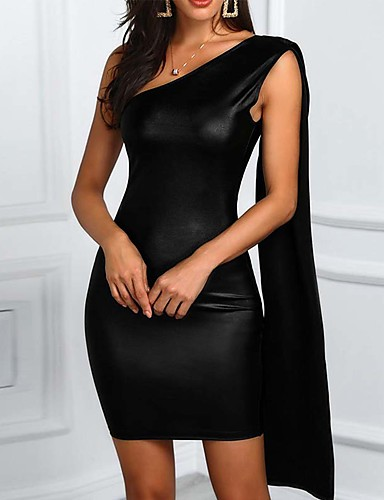 저렴한 섹시한 드레스-여성용 베이직 바디콘 칼집 드레스 - 솔리드 미니