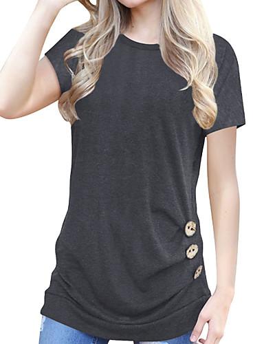 povoljno Ženske majice-Majica s rukavima Žene - Osnovni Dnevni Nosite Pamuk Jednobojni Širok kroj, Kolaž Crna / Bijela / Plava Bijela