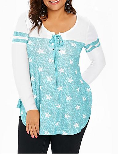 abordables Hauts pour Femme-Tee-shirt Femme, Galaxie Mosaïque / Imprimé Chic de Rue Col en V Ample Noir & Blanc Gris
