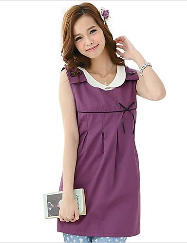 ราคาถูก เสื้อผู้หญิง-สำหรับผู้หญิง ผู้หญิงตั้งครรภ์ เสื้อกล้าม พื้นฐาน ฝ้าย ลูกไม้ / เปิดหลัง คอเสื้อเชิ้ต หลวม สีพื้น สีม่วง
